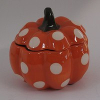 Ceramic Pumpkin Candle Orange with white dots