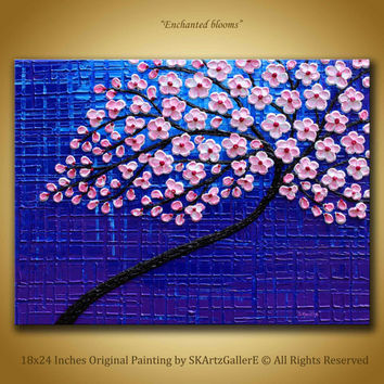 Cherry blossom Painting, Original Artwork, Blue Purple Painting, Pink floral art, Textured flowers painting, 3d wall art Abstract tree 18x24
