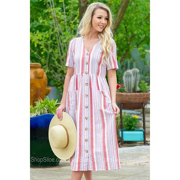 Leigha Button Up Pocket Dress