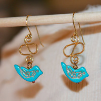 Blue Dangle Earrings, Blue Bird Drop Earrings, Gold Earrings, Gold Dangle Earrings, Gifts for Her, Girlfriend Gift Ideas