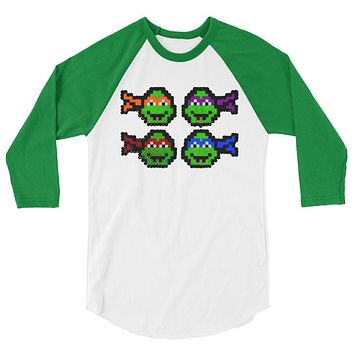 Ninja Turtles Perler Art 3/4 Sleeve Raglan Shirt by Aubrey Silva