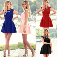 2016 Lady Summer Sleeveless Casual Evening Party Cocktail Beach Short Mini Dress