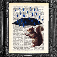 SQUIRREL Art, Funny poster, Squirrel, Raindrops, Umbrella Poster, Dictionary Print poster, Cute Gift Poster, Dorm College Home Wall Decor