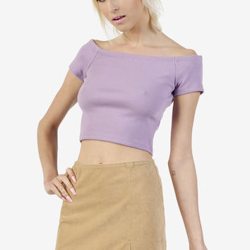 Off The Shoulder Top - Perf Purple