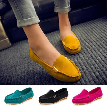 2016 New Summer Style Woman Shoes Leather Women Shoes Flats Buckle Loafers Slip On Wom