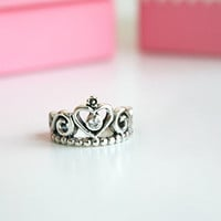 Perforated Queen Crown Silver Ring Sterling Ring .925 Silver Ring Personalized Ring