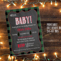 Printable lumberjack baby shower invitation / buffalo plaid invite / lumberjack invite / woodland baby shower invite / woodland invitation