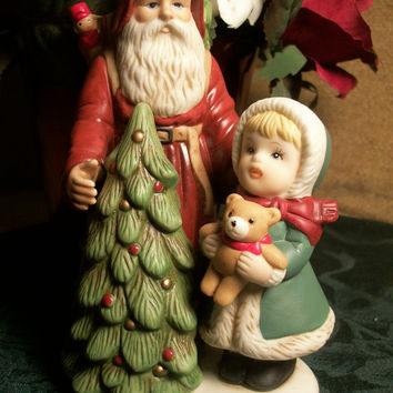 Christmas Figurine Old World Santa Claus with Girl Bear and Christmas Tree Vintage Homco Holiday Home Decor