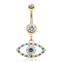 316L, 14GA, Golden Trinket Evil Eye Belly Button Ring
