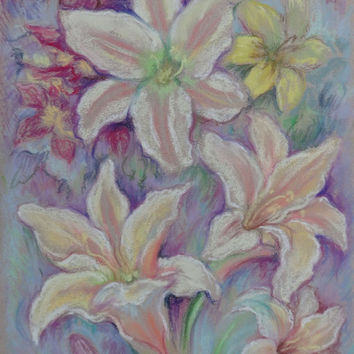 White lilies, ORIGINAL PASTEL PAINTING, Garden Flowers, Pastel drawing, Hand drawn, Decorative Art, Floral Art, Wall decor, Wedding, Wedding
