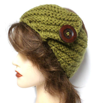 Women's olive green crochet large brown button headband, olive green ear warmer, crochet button headband, gift