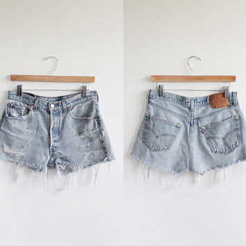 Vintage 80s Levi's High Waisted Distressed Cut Off Shorts | womens 8