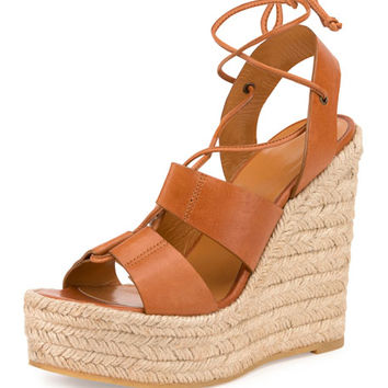 Saint Laurent Leather Espadrille Wedge Sandal, Dark Noce