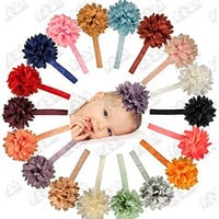 Chiffon Petal Flower Baby Headband Set - 18 Pack by ZELDA MATILDA - LARGE Gorgeous Flowers on Super Stretchy Headbands for Newborn and Baby Girls - Boutique quality! Great Gift Idea!