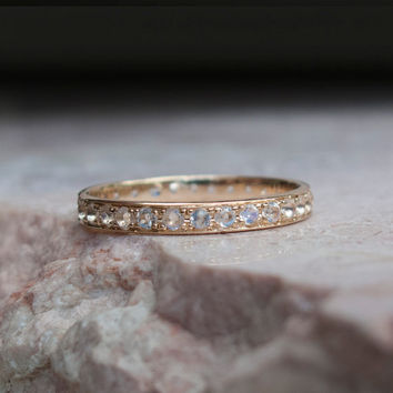 Moon stone eternity Ring - Gold Ring - June Birthstone - Amulet travelers - Lover stone - Rainbow moonstone - protection - hope - promise