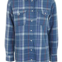 MOTO Navy Heavy Check Shirt | Topshop