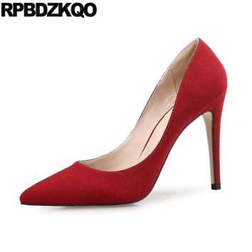High Heels Pointed Toe 12 44 Office Suede Size 33 Ladies Shoes Extreme 4 34 Stiletto Red Formal 10 42 Plus 2017 Autumn Chinese