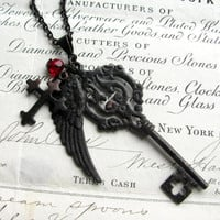 """Fallen Angel Brass """"Gothic Bouquet"""" black angel wing necklace, large skeleton key, wing, cross pendant, red bead, long chain, opera length"""