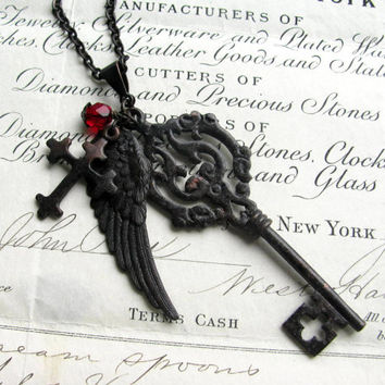 "Fallen Angel Brass ""Gothic Bouquet"" black angel wing necklace, large skeleton key, wing, cross pendant, red bead, long chain, opera length"