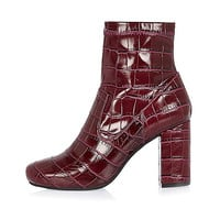 Dark red snake print heeled ankle boots - ankle boots - shoes / boots - women