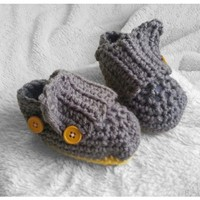 Handmade gray baby boy Crochet booties, any color, infant shoes newborn-12 months