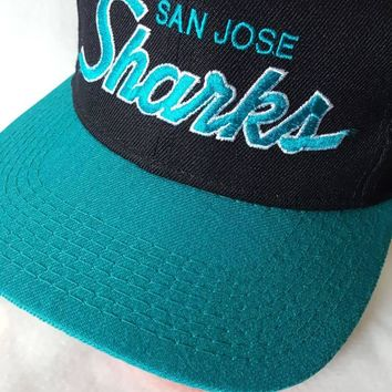 Vtg San Jose Sharks Sports Specialties Script snapback hat cap NHL Hockey Free Shipping