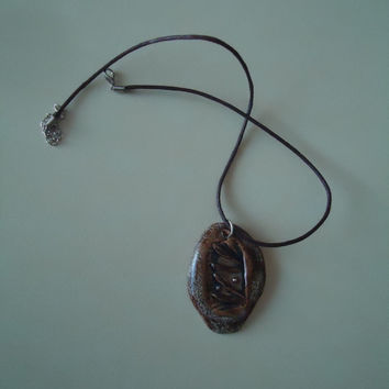 Ceramic pendant. Floral relief. Bronze gloss glaze and matte color. FREE SHIPPING!