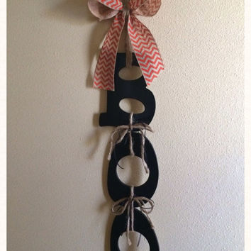 Boo!!  Wooden Letters Halloween Door Wreath Or Wall Hanger. Super cute! Fast shipping!