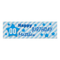 ANY YEAR Birthday Star Banner BLUE STRIPES STARS 1 Print