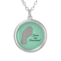 Save the Manatees! Round Pendant Necklace
