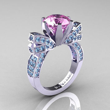 French 14K White Gold 3.0 CT Light Pink Sapphire Aquamarine Engagement Ring, Wedding Ring R382-14KWGAQLPS
