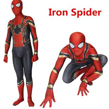 Cool Halloween  Spiderman Homecoming Cosplay Costume Zentai Iron Spider Man Superhero Bodysuit Suit JumpsuitsAT_93_12