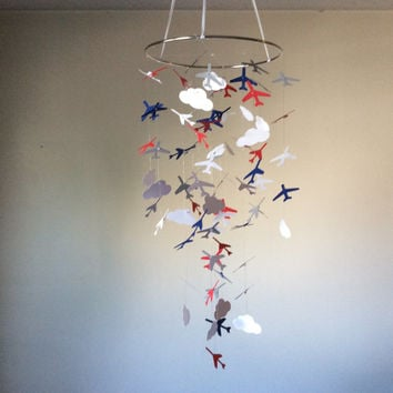 Airplanes and Clouds paper mobile! Navy, Red, Grey and White, Baby nursery mobile, Crib Mobile, Teen/Tween mobile,