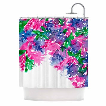 "Ebi Emporium ""Floral Cascade 1"" Pink Green Shower Curtain"