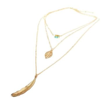 Gorgeous Gold Tone Triple Strand Feather and Blue Bead Long BOHO Necklace