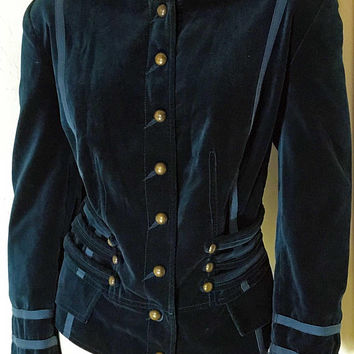 Vtg Deep Emerald Green Velour Military Style Jacket / Velvet with Bronze Colored Buttons / Gothic Steampunk Style Naval Coat / Corset Back