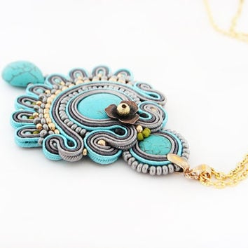 Turquoise boho pendant, beaded turquoise necklace, soutache pendant, boho chic necklace, boho jewelry, gift for her, soutache jewelry