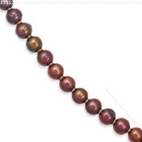 14k Yellow Gold Elegant Round Chocolate Fresh Water Cultured Pearl Necklace - 7 Inch - JewelryWeb