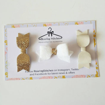 Small hair clips - gold glitter, white faux leather, white wool felt hair bows