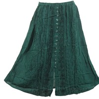 Womens Skirt Dancing Gypsy Ari Embroidered Stonewashed Green Peasant Skirts
