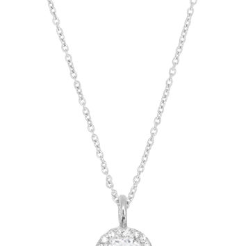 Birthstone Set in Diamond Disc Necklace- Apr/White Topaz