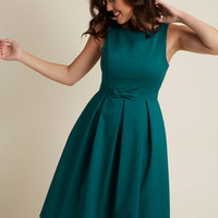 High-Neck Pleated Fit and Flare Dress