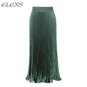 ELEXS Women Winter High Waist Pleated Long Skirt Fashion Solid Breathable Ankle-Length Skirts E7928