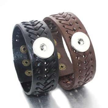 23CM Adjustable Snap Bracelet Vintage Weave Real Leather Bracelet Fit 18mm Snap Button Bracelet For Women Jewelry 9389
