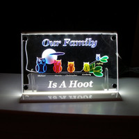 Family personalized made to order LED light night light Our Family is a Hoot