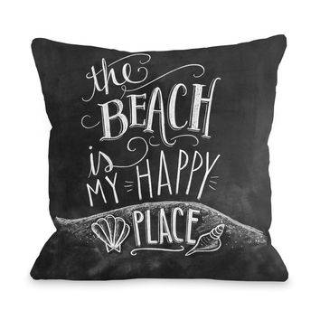 Beach is My Happy Place - Gray Multi Throw Pillow by Lily & Val