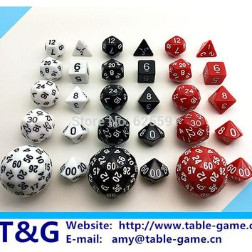 Hot Sales 10cs Digital Dice Set T&G High quality d4 d6 d8 d10 d% d12 d20 d24 d30 d60 with Bag For Rpg role playing Game Gift