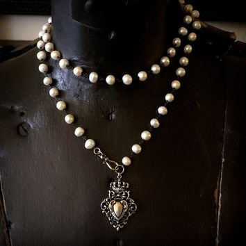 Long White Pearl Heart Crown Oxidized Sterling Silver Filigree Pendant Necklace
