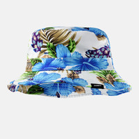 Hibiscus Blue White Bucket Hat