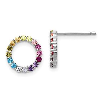 Sterling Silver Colorful Rainbow Circle Post Earrings